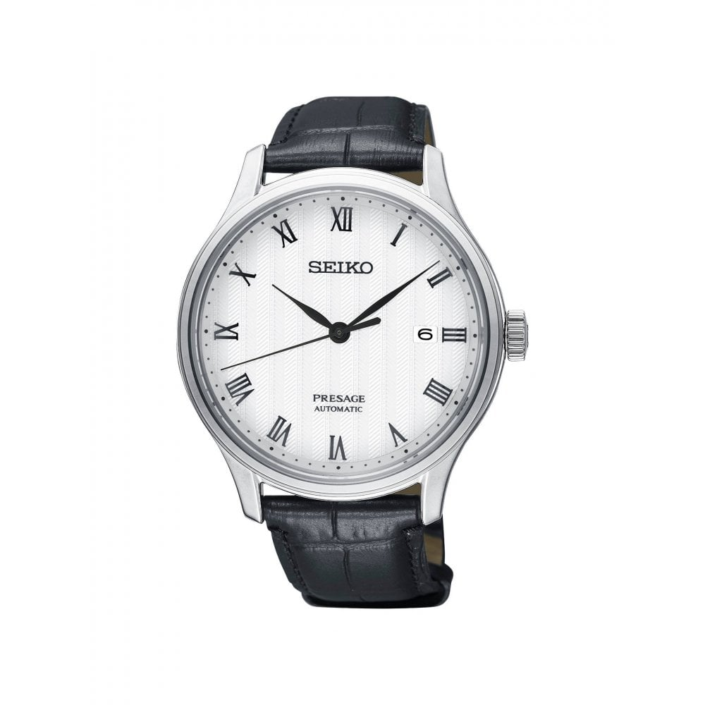 Gents Presage White Roman Dial Black Strap Automatic Watch