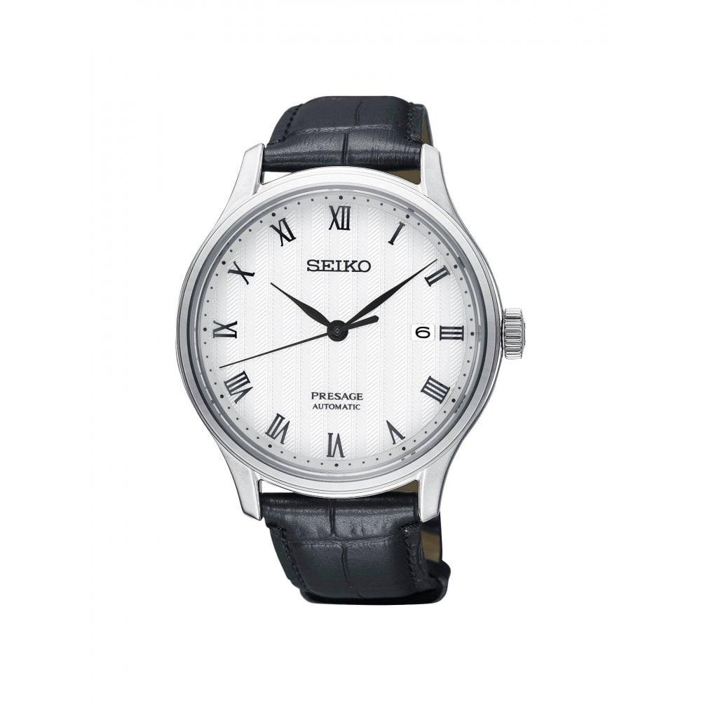 Gents Presage White Roman Dial Black Strap Automatic Watch