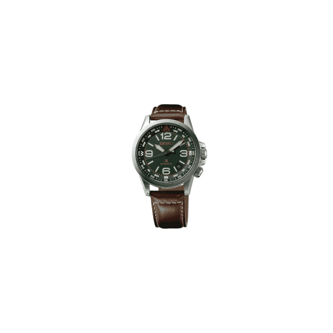 Seiko Gents Seiko Prospex Green Dial Brown Leather Strap Watch