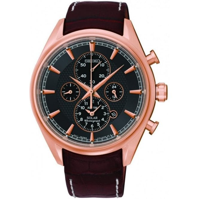 Seiko Gents Seiko Rose PVD Solar Chronograph and Leather Strap Watch