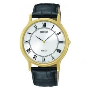 Gents Seiko Solar Classic Black Leather Strap Watch