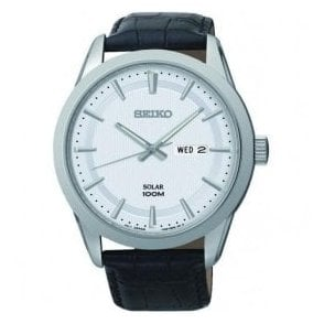 Gents Seiko Solar Day-Date Black Leather Strap Watch