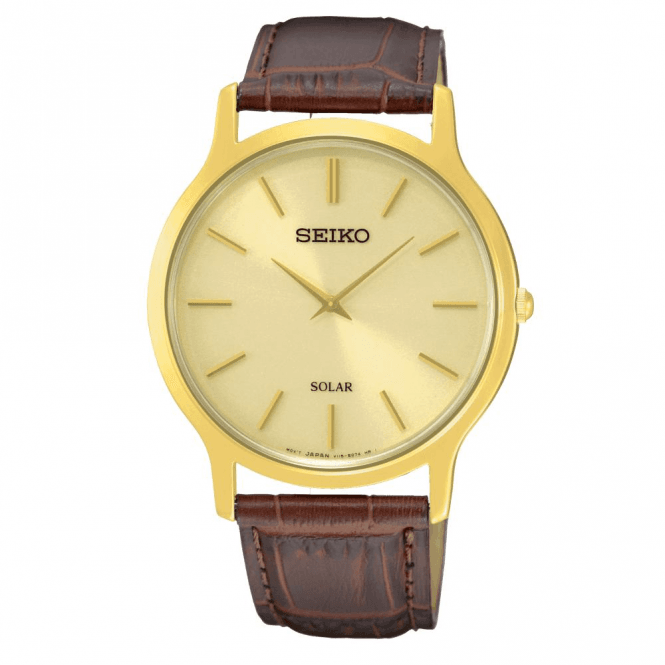 Seiko Gents Seiko Solar Gold PVD Brown Leather Strap Watch