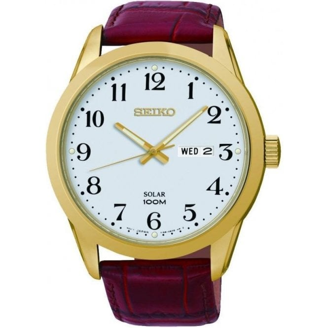 Seiko Gents Seiko Solar Gold PVD Red Leather Strap Watch