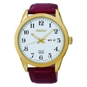 Gents Seiko Solar Gold PVD Red Leather Strap Watch