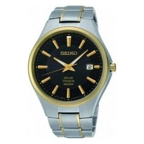 Gents Seiko Solar Two-Tone Titanium Bracelet Watch
