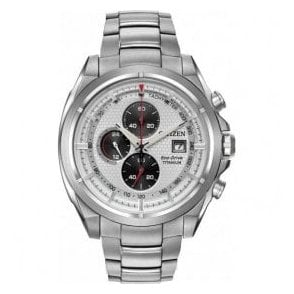 Gents Silver dial Eco-Drive chronograph bracelet watch