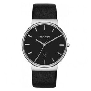 Gents Skagen Ancher Black Dial Black Leather Strap Watch