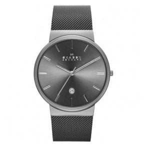 Gents Skagen Ancher Grey Dial Mesh Bracelet Watch