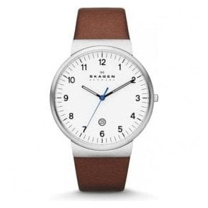 Gents Skagen Ancher White Dial Brown Leather Strap Watch