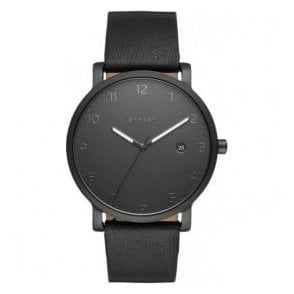 Gents Skagen Hagen Black Arabic Dial Leather Strap Quartz Watch