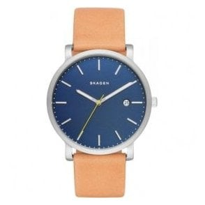 Gents Skagen Hagen Blue Dial Tan Leather Strap Watch