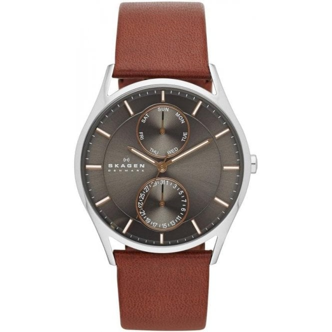 Skagen Gents Skagen Holst Black Dial Brown Leather Strap Watch