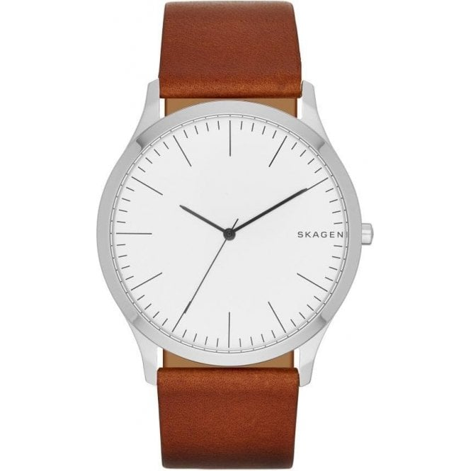 Skagen Gents Skagen Jorn Brown Leather Strap Quartz Watch