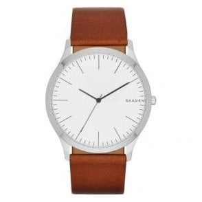Gents Skagen Jorn Brown Leather Strap Quartz Watch