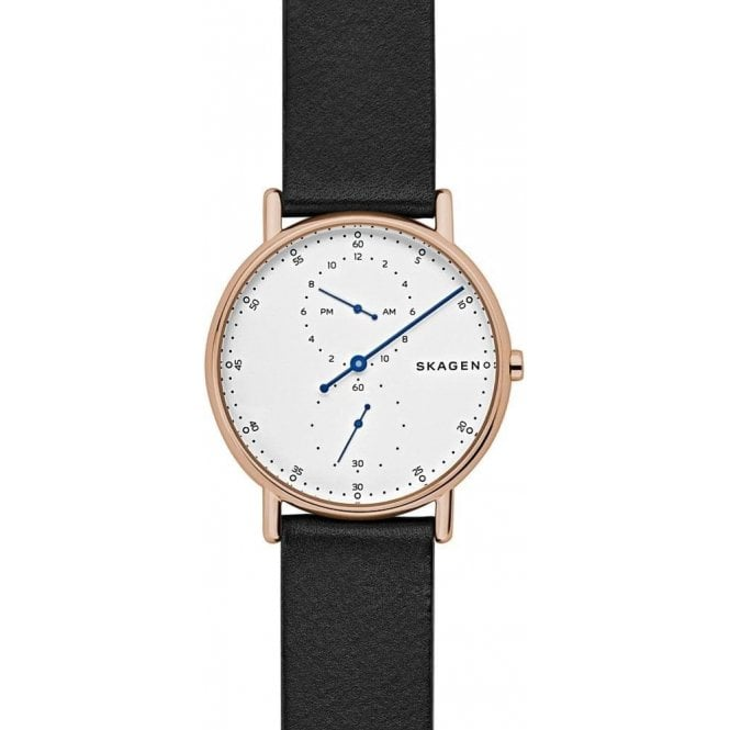 Skagen Gents Skagen Signatur Regulator Rose PVD Leather Strap Watch