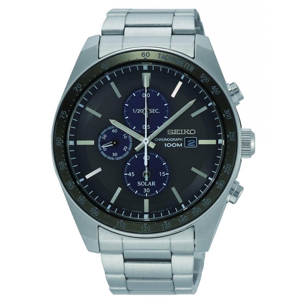 68e3e7975 Seiko Seiko Gents Solar Black Dial Bracelet Quartz Chronograph Watch ...