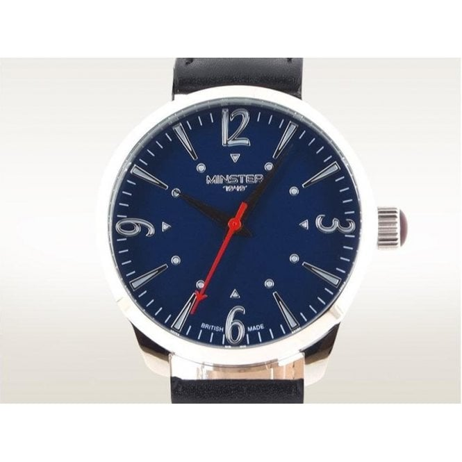 Minster 1949 Gents Steel Crofton On Strap Blue Dial