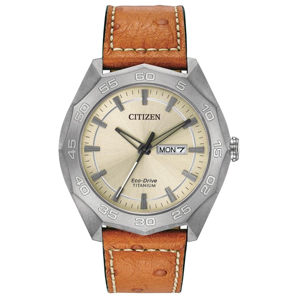 623e9dc87 Citizen Citizen Gents Super Titanium Day-Date Tan Leather Strap Eco ...