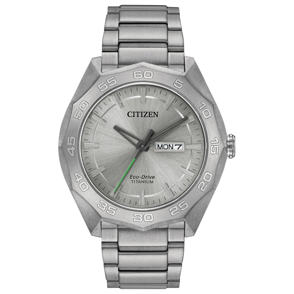 Gents Super Titanium Silver Dial Day-Date Eco-Drive Watch