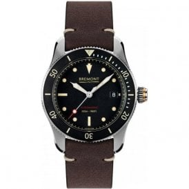 Gents Supermarine S301 Black Dial Brown Strap Automatic Watch