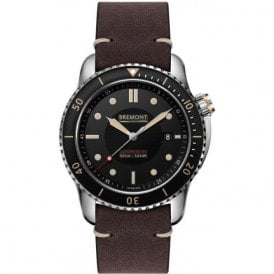 Gents Supermarine S501 Black Dial Brown Strap Automatic Watch