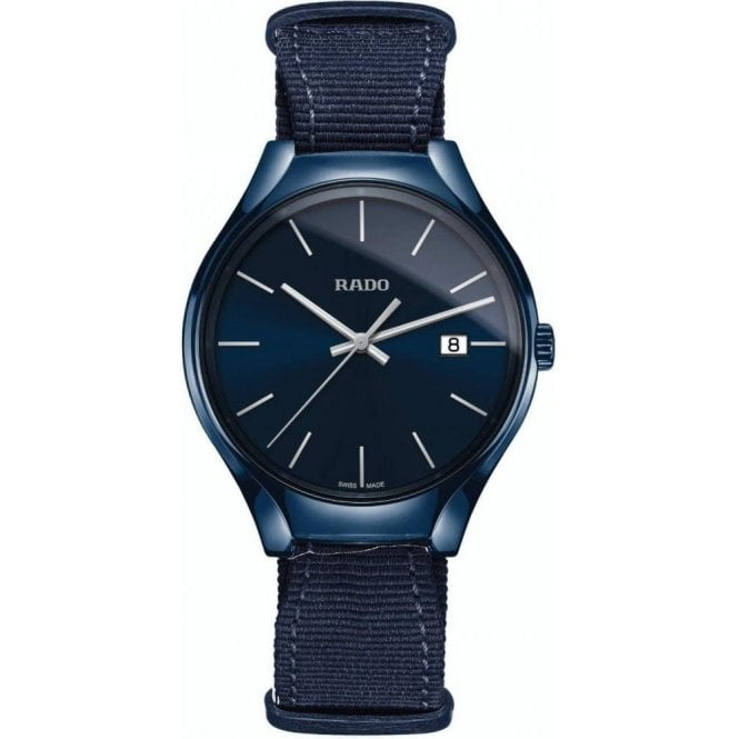 Rado Gents True Blue High-Tech Ceramic Fabric Strap Quartz Watch