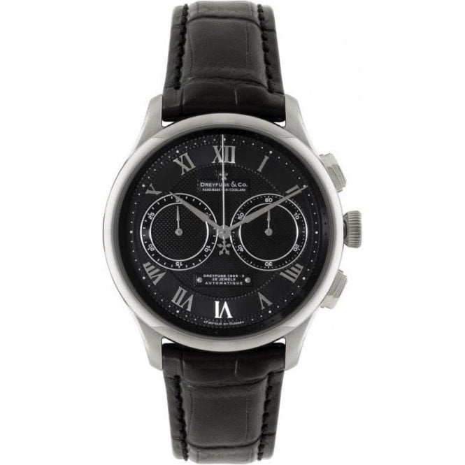 Dreyfuss & Co Gents Valjoux Black Dial Black Strap Automatic Chronograph Watch