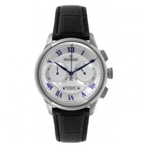 Gents Valjoux Silver and Blue Dial Automatic Chronograph Watch