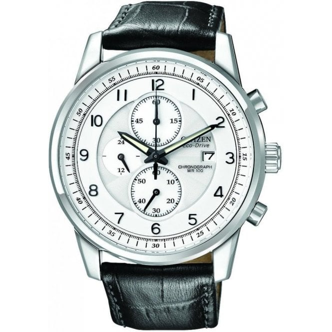 Citizen Gents White Dial Black Strap Eco-Drive Chronograph Watch