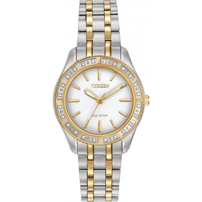 Citizen Ladies Citizen Two-Tone 24 Diamond Bezel Watch