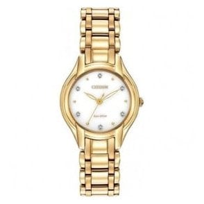 Ladies Citizen Yellow PVD Diamond Set Dial Watch