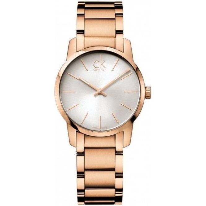 Calvin Klein Ladies City Rose Gold PVD Silver Dial Bracelet Quartz Watch