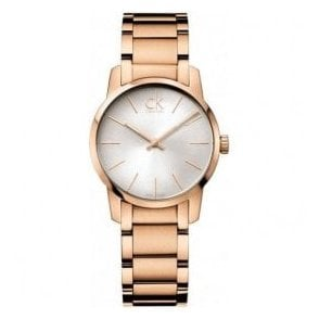 Ladies City Rose Gold PVD Silver Dial Bracelet Quartz Watch
