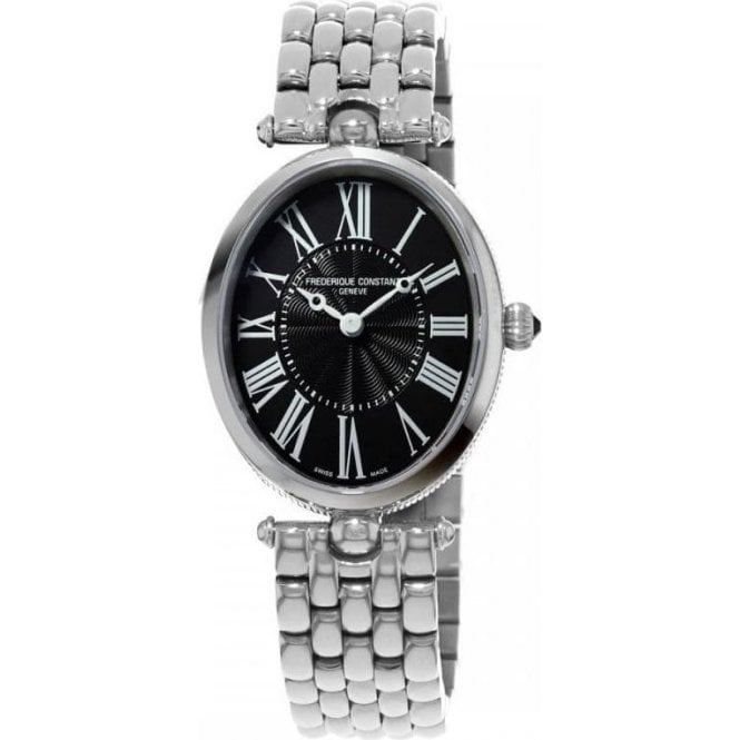 Frederique Constant Ladies Classics Art Deco Black Dial Bracelet Quartz Watch