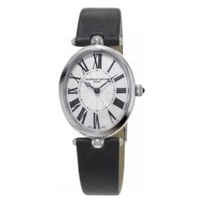 Ladies Classics Art Deco Silver Dial Black Strap Quartz Watch