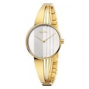Ladies Drift Yellow Gold PVD White Dial Bangle Quartz Watch