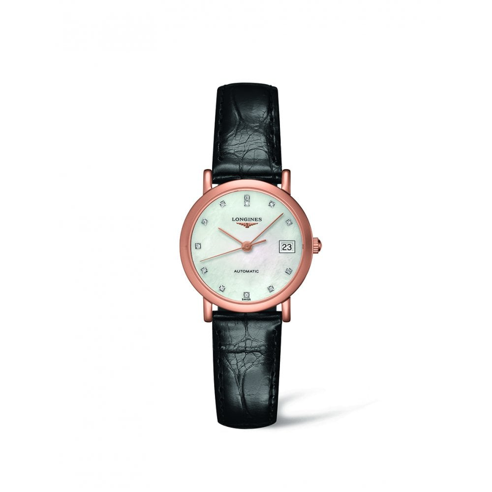 Longines Longines Ladies Elegant 18ct Rose Gold Black Strap Automatic Watch Watches From Dipples Uk
