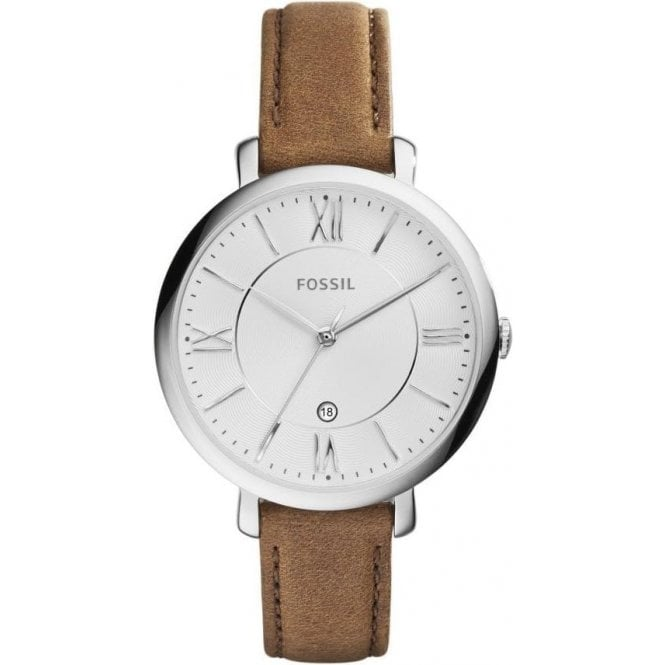 Fossil Ladies Fossil Jacqueline White Dial Brown Leather Strap Watch