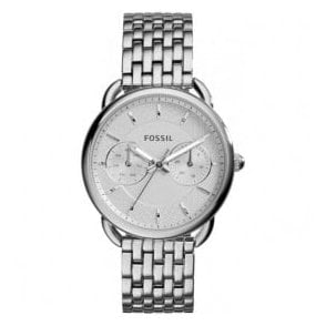 Ladies Fossil Tailor Day-Date Silver Dial Bracelet Watch