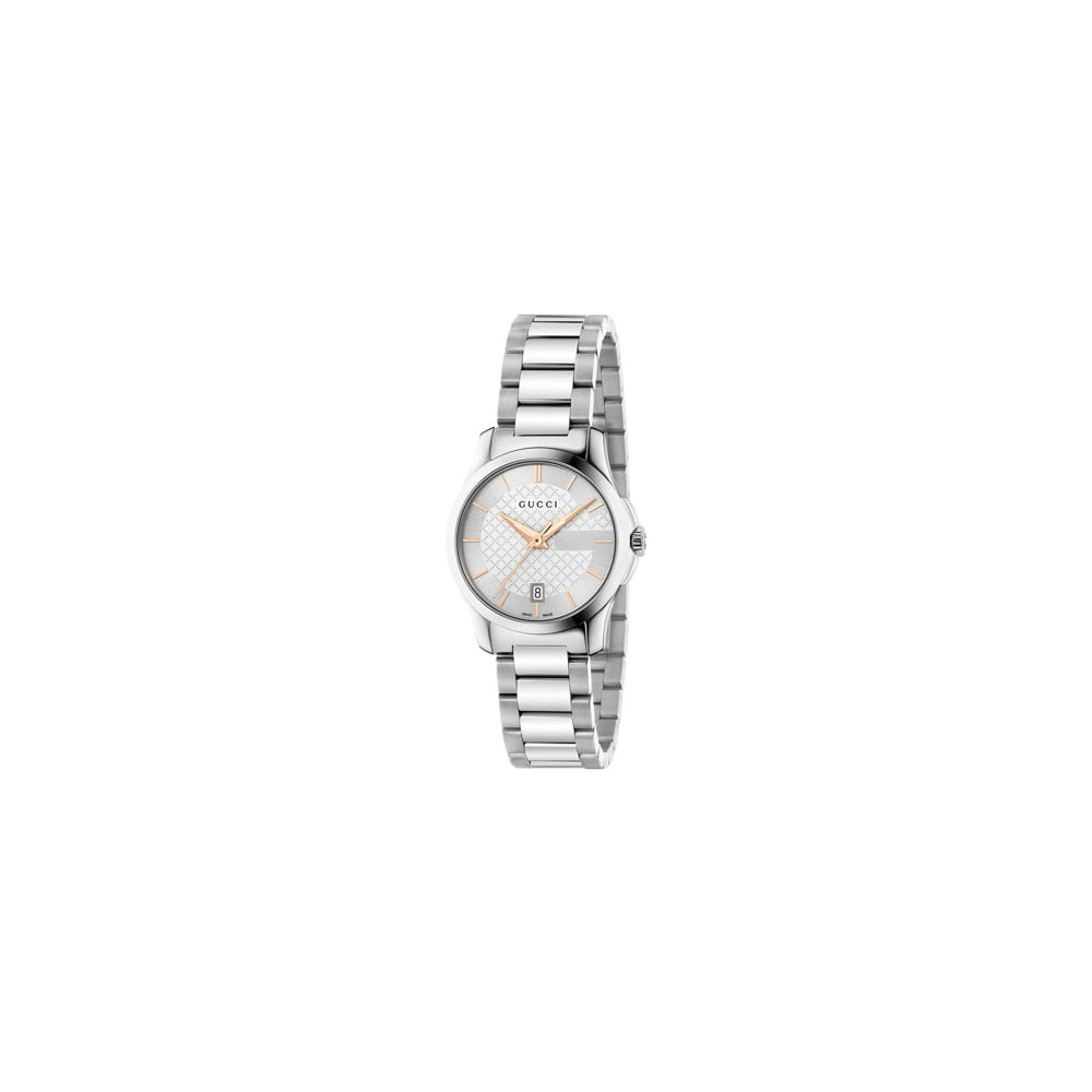 Gucci Ladies G,Timeless Silver and Gold Dial Bracelet Quartz Watch