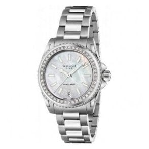 Ladies Gucci Dive MOP Dial Diamond Set Bezel Bracelet Watch