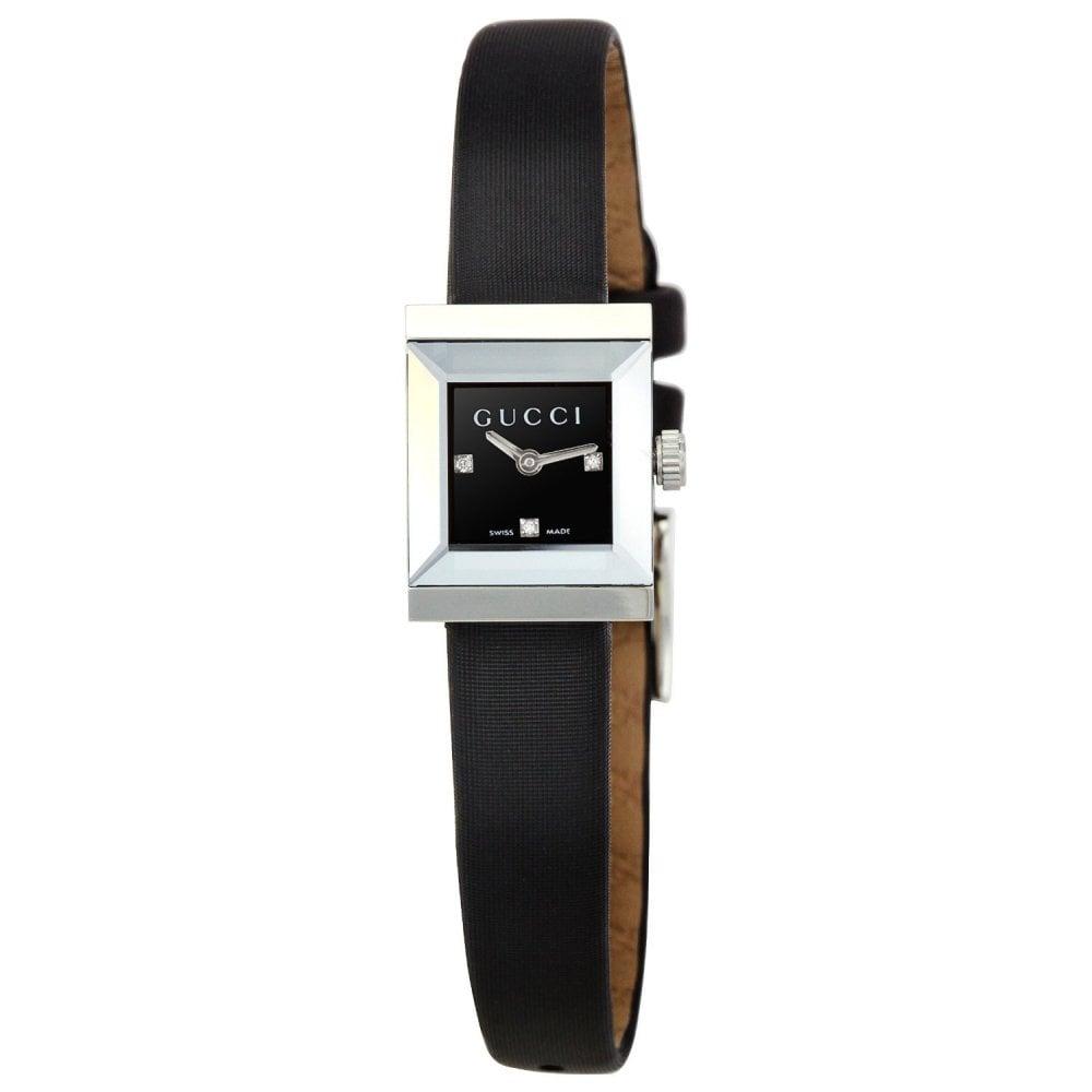 1fd13eee853 Gucci Gucci LadiesG-Frame Black Diamond Dot Dial Black Strap Watch ...