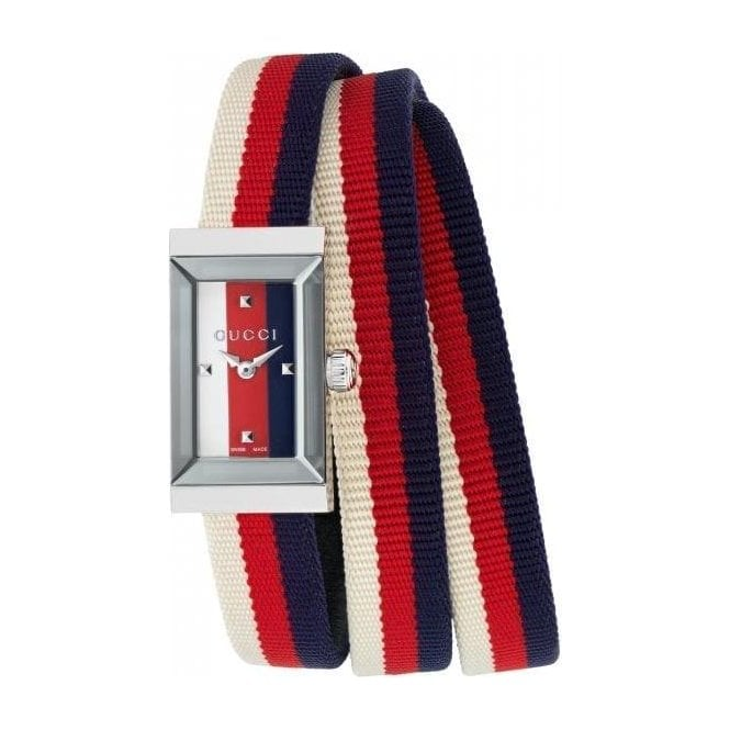 Gucci Ladies Gucci G-Frame Multicoloured Dial and Nylon Strap Watch