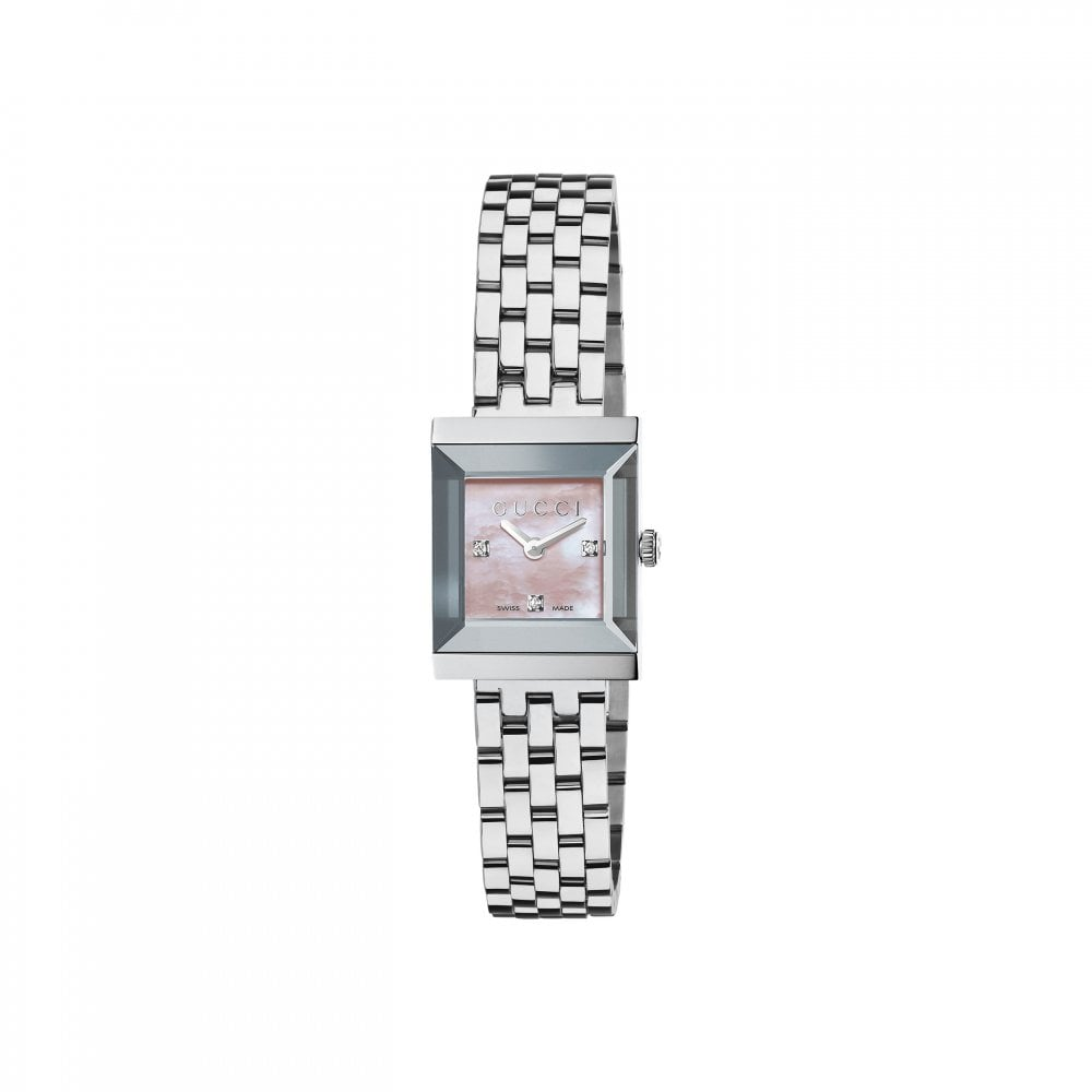6ff06de7494 Gucci Gucci LadiesG-Frame Pink MOP Diamond Set Dial Bracelet Watch ...