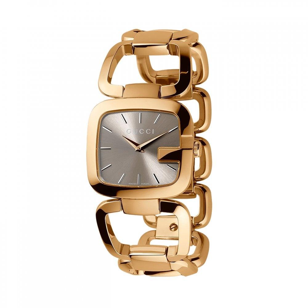 b0bdcfcfb856a Ladies Gucci G-Gucci Yellow PVD Brown Dial Bracelet Watch