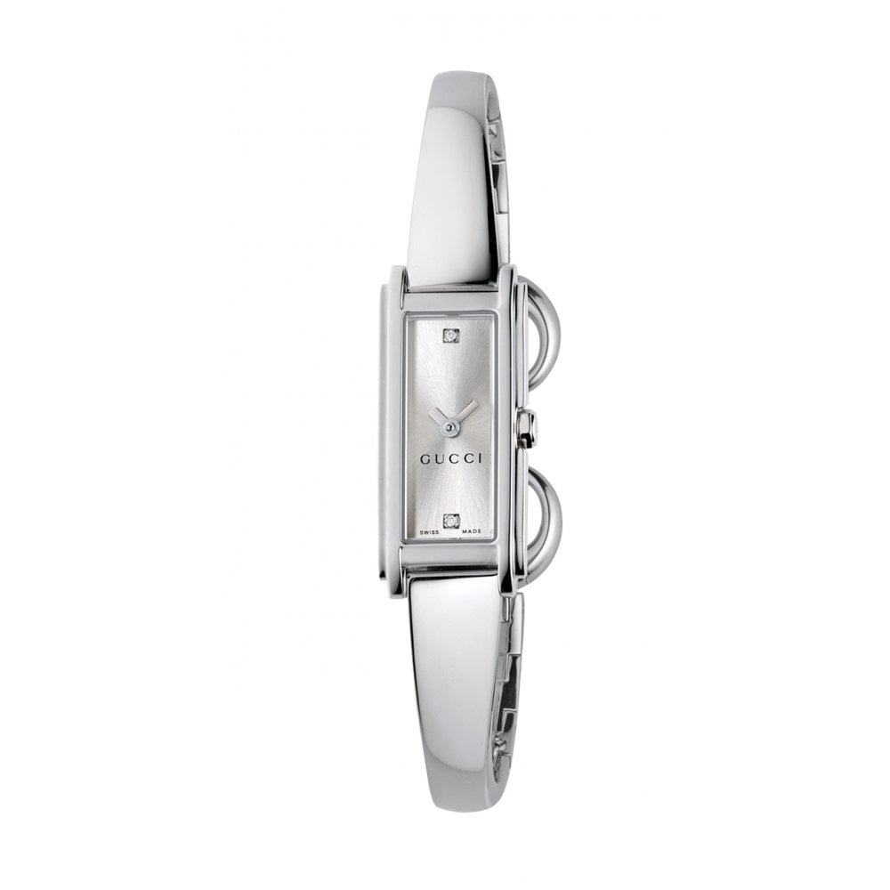 Gucci Ladies Gucci G Line 2 Diamond Dot Silver Dial Bangle Watch