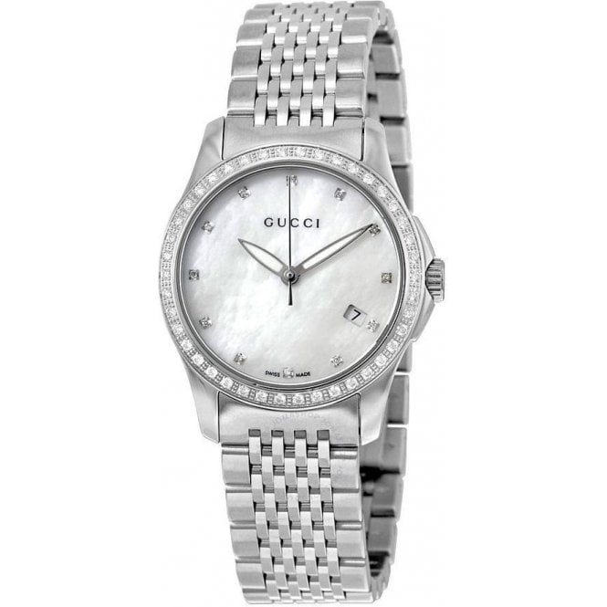 Gucci Ladies Gucci G-Timeless Diamond Bezel MOP Dial Bracelet Watch