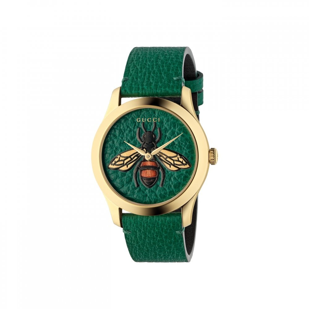 5dbd767e1d9 Gucci Gucci LadiesG-Timeless Green Leather Bee Dial Quartz Watch ...