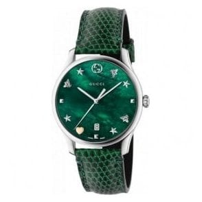 Ladies Gucci G-Timeless Green MOP Signature Dial Strap Watch